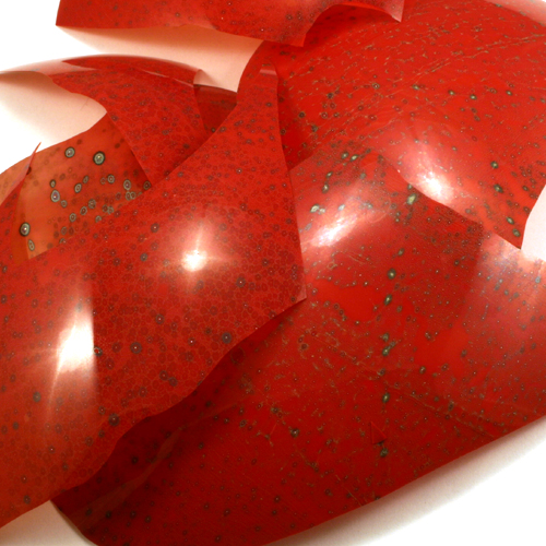 red lampwork shards