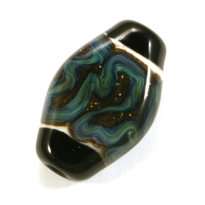 black oval bead with ivory center and blue squiggles