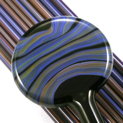 blue lampwork glass stringer with orange streaks