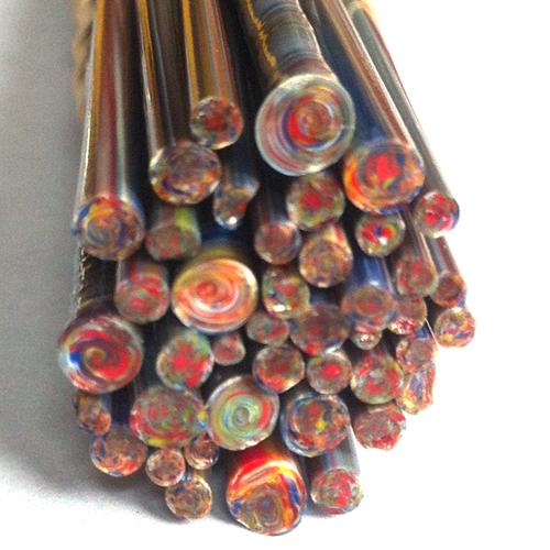 colorful ends of rainbow lampwork glass stringer bundle