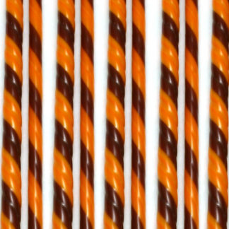 brown and orange glass twisted together