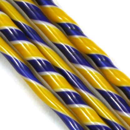 blue white and yellow glass twisted together