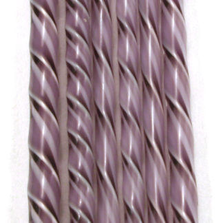 transparent purple and white glass twisted