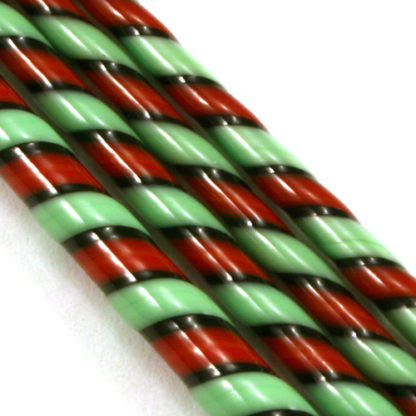 red green and black glass twisted together