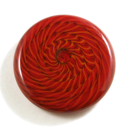 red glass cabochon with black lines