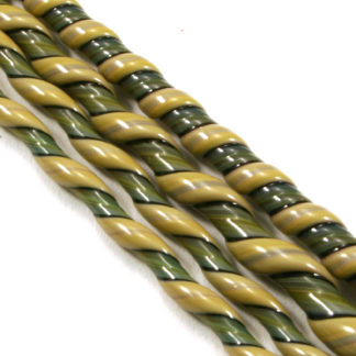 green and tan glass twisted together