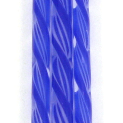 blue glass cane with 3 white threads