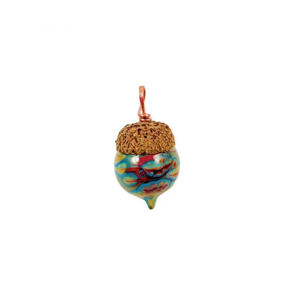glass acorn pendant with real acorn cap