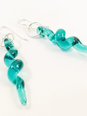 teal spiral glass earrings