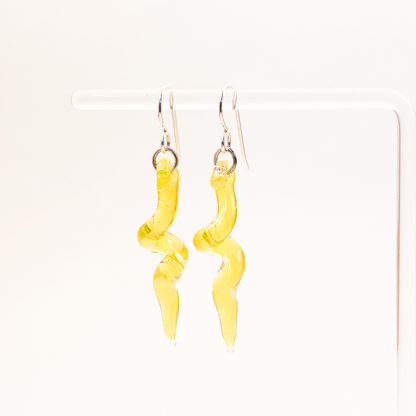 yellow spiral glass earrings