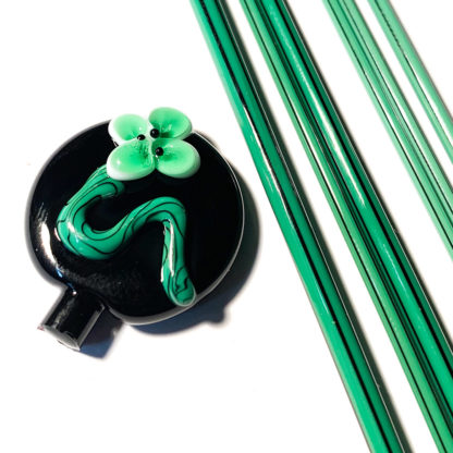 green glass stringer with black lines