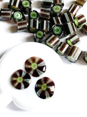 layered green murrini chips