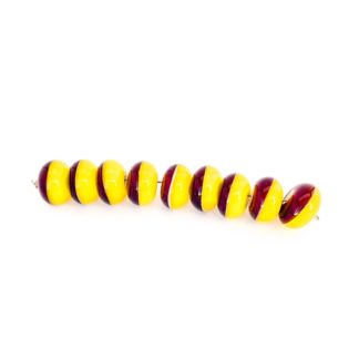 yellow and pruple glass bead set